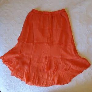 Orange High-low Skirt